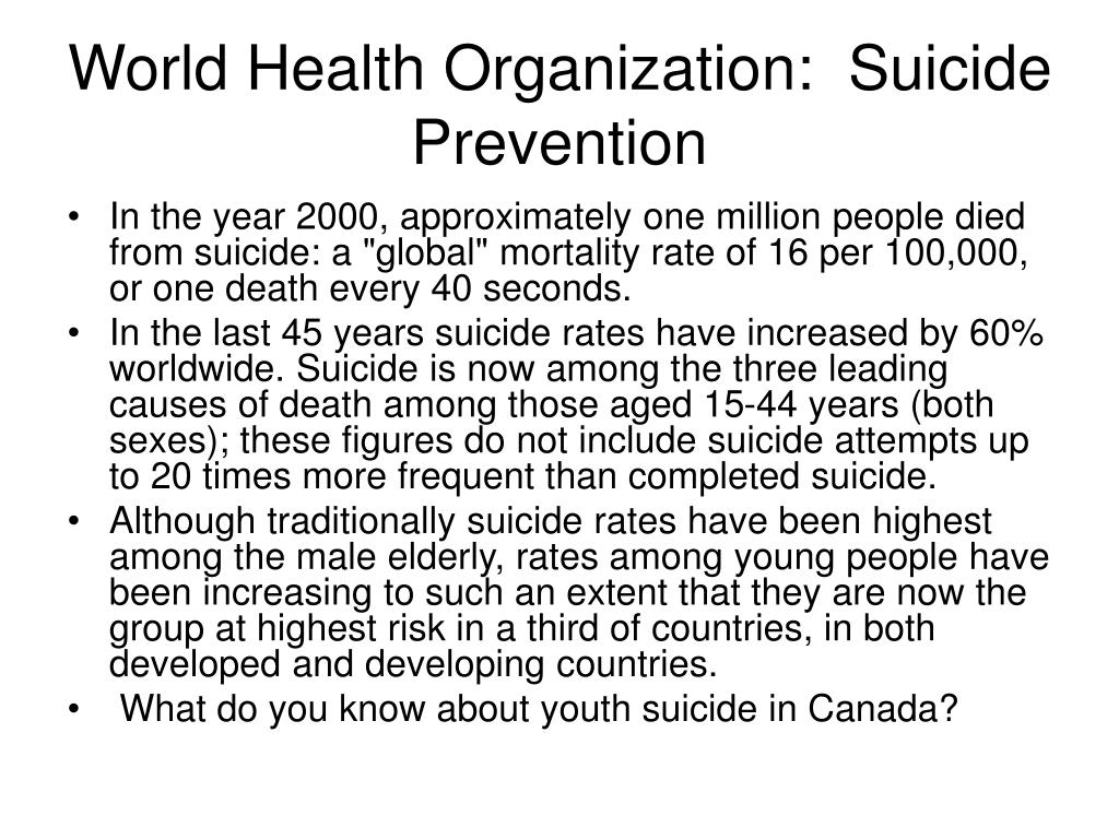 World Health Organization:  Suicide Prevention