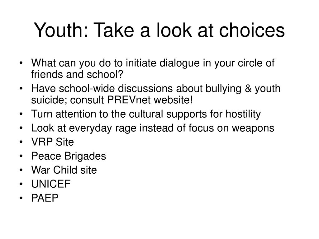 Youth: Take a look at choices