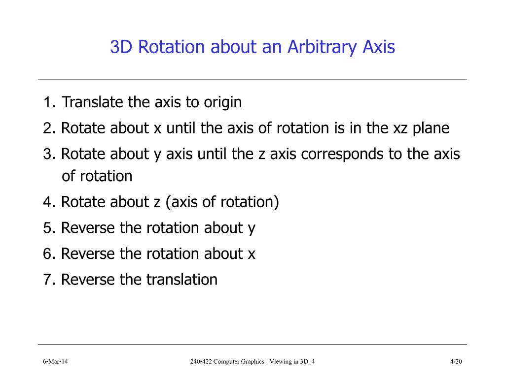 3D Rotation about an Arbitrary Axis