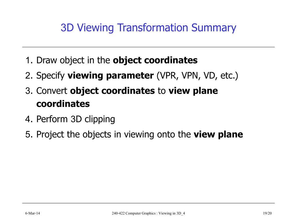 3D Viewing Transformation Summary