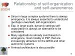 relationship of self organization and self awarenenss