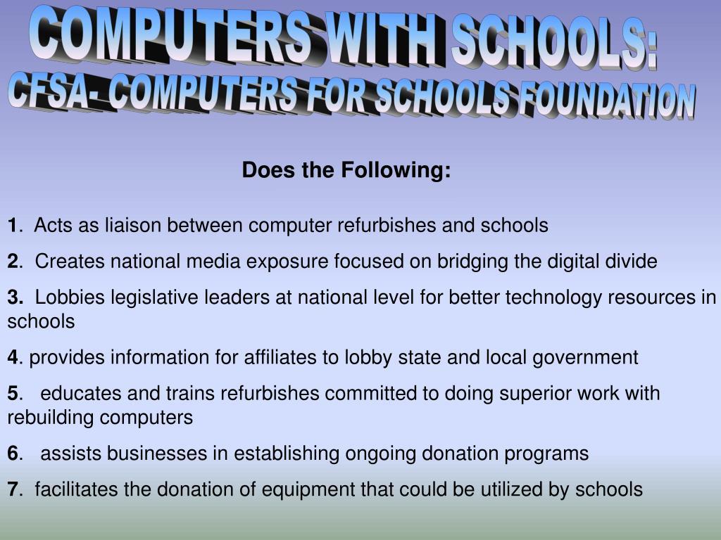COMPUTERS WITH SCHOOLS: