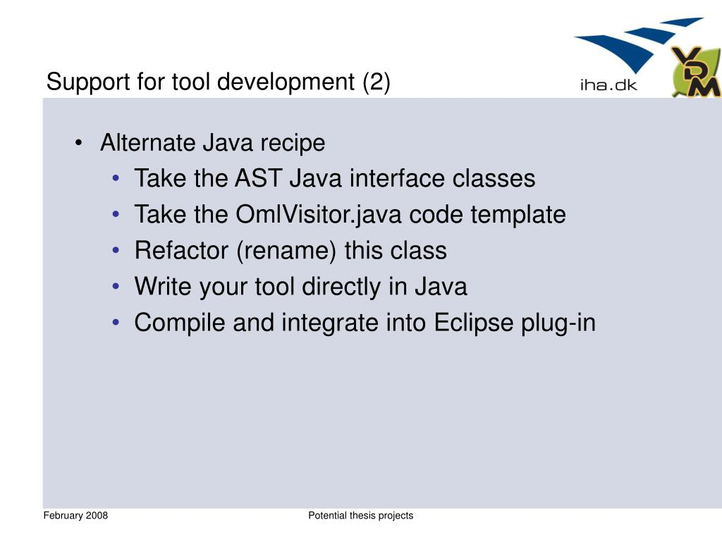 Support for tool development (2)