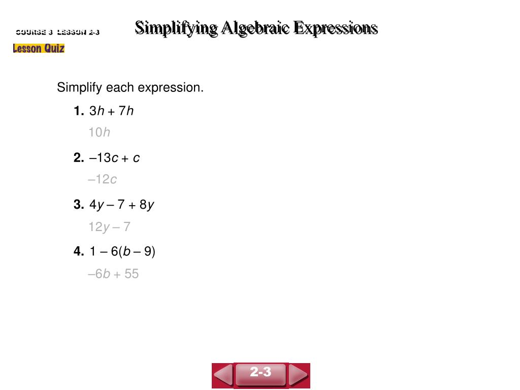 COURSE 3  LESSON 2-3