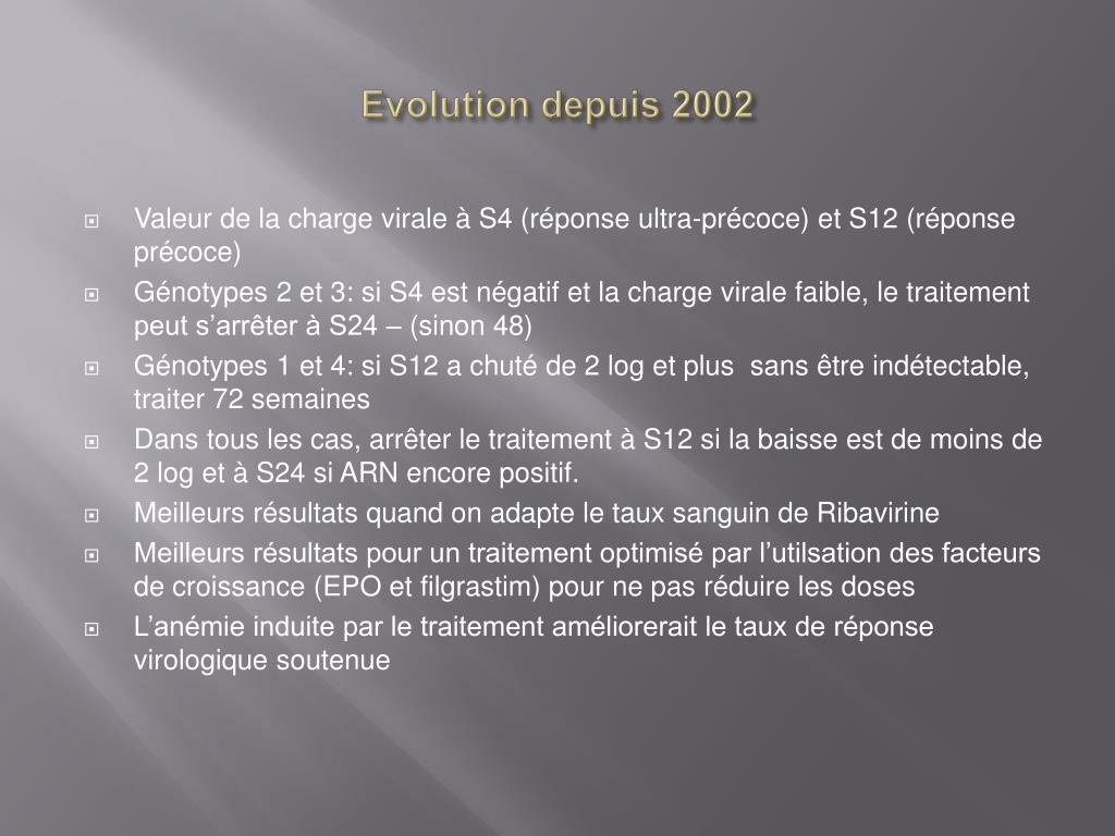 Evolution depuis 2002