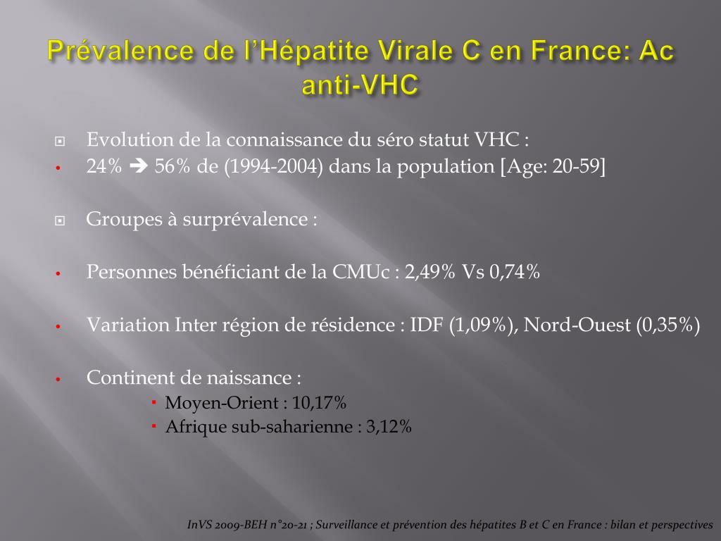 Prévalence de l'Hépatite Virale C en France: Ac anti-VHC