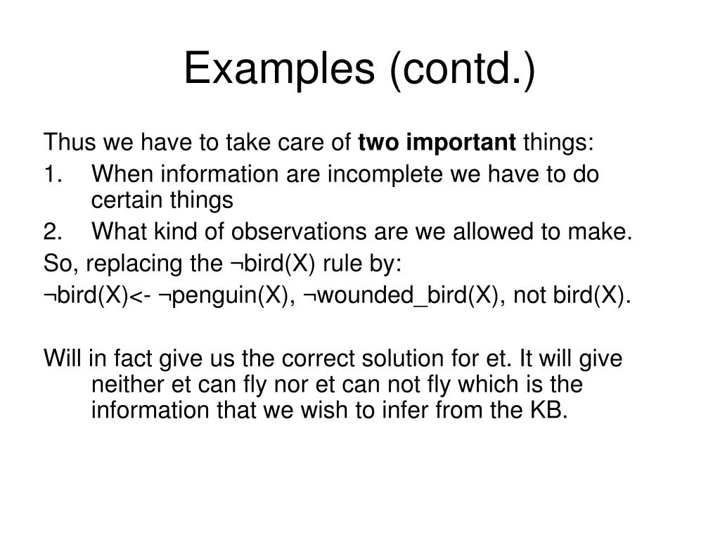 Examples (contd.)
