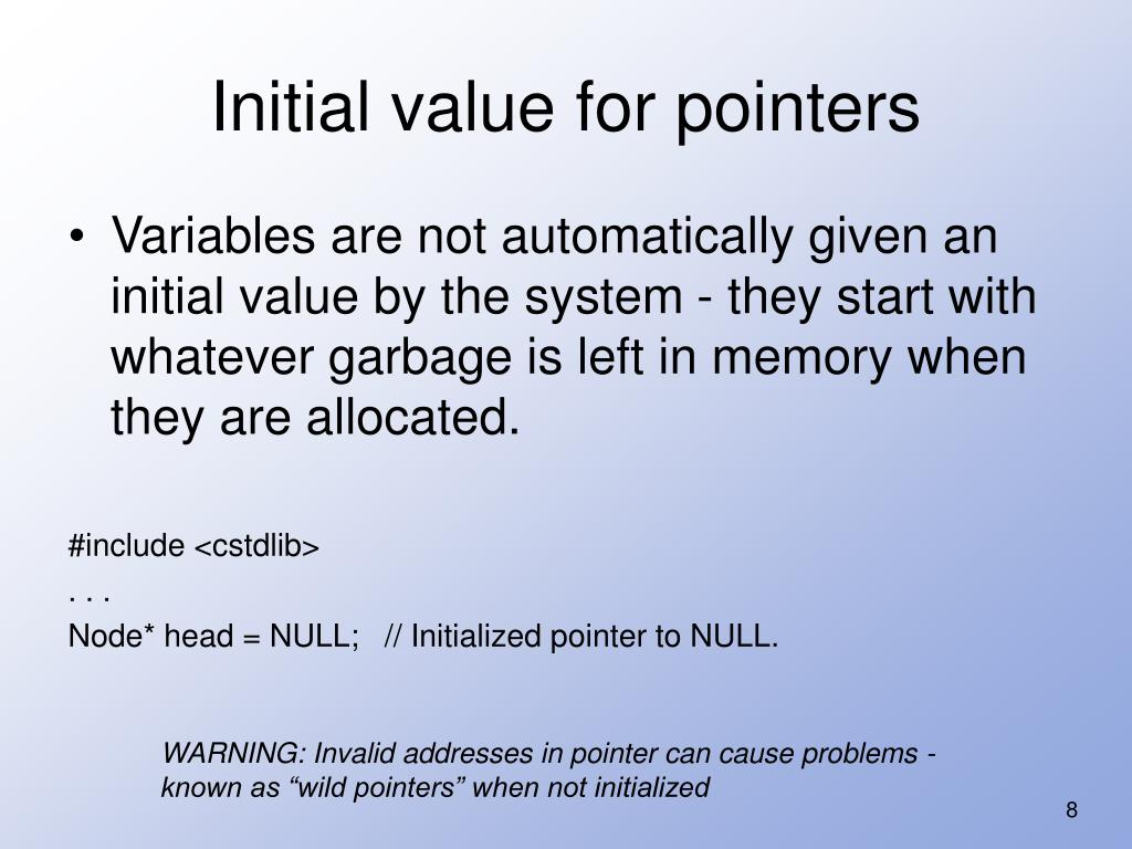Initial value for pointers