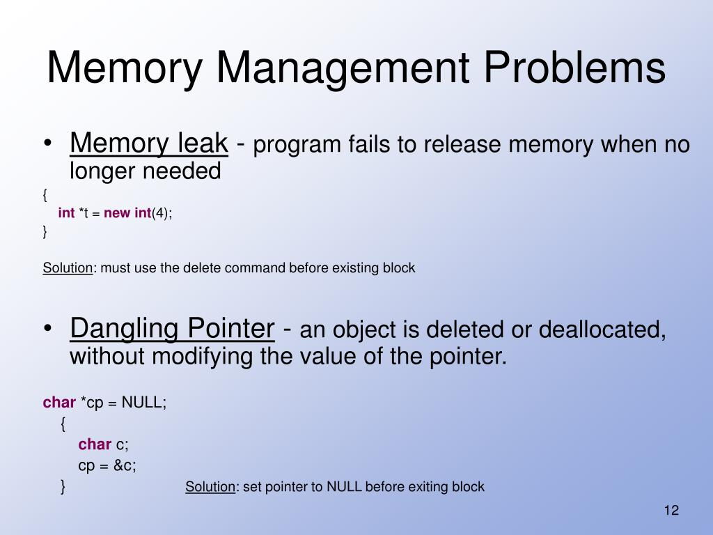 Memory Management Problems