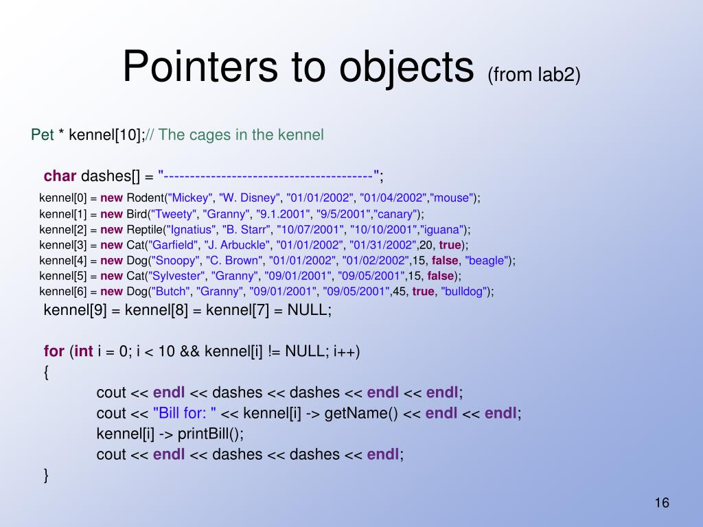 Pointers to objects