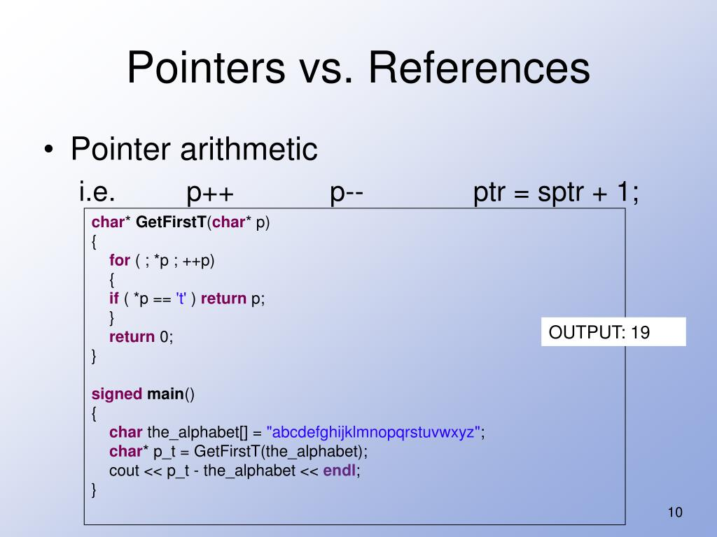 Pointers vs. References