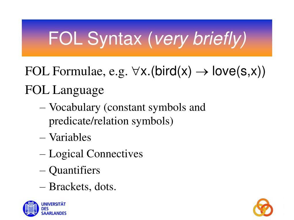 FOL Syntax (