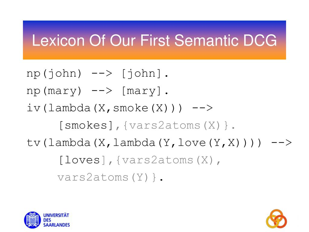 Lexicon Of Our First Semantic DCG
