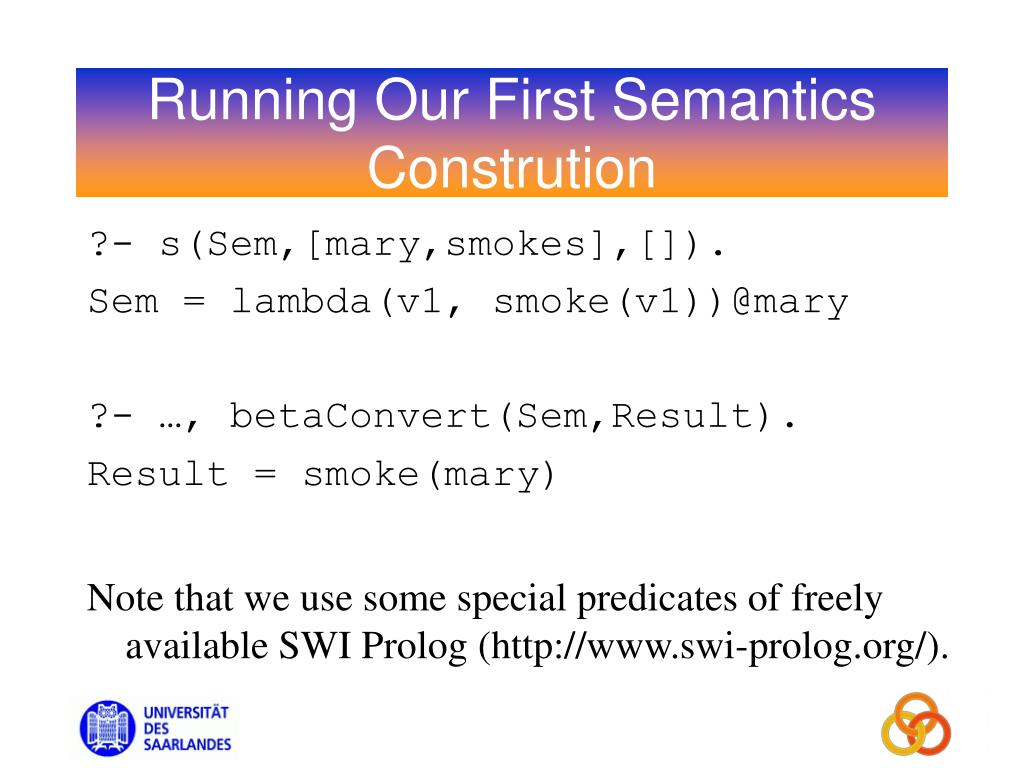 Running Our First Semantics Constrution