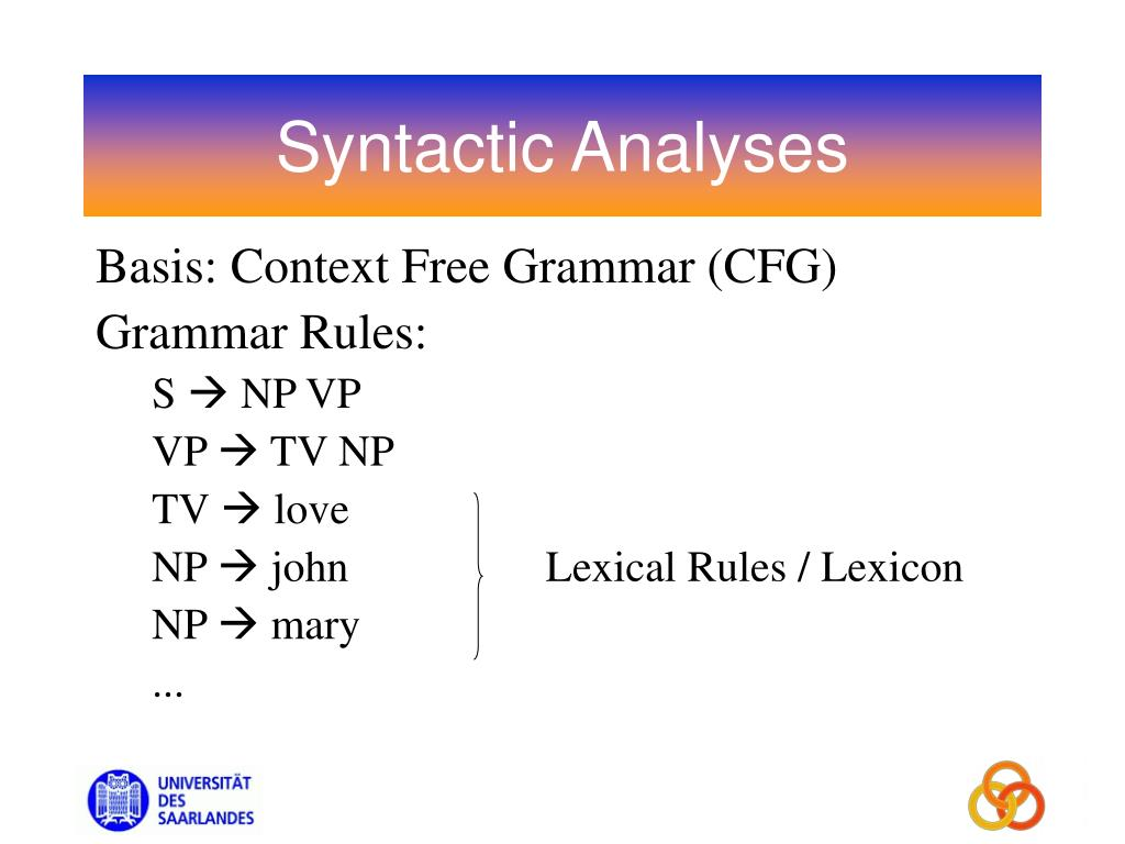 Syntactic Analyses