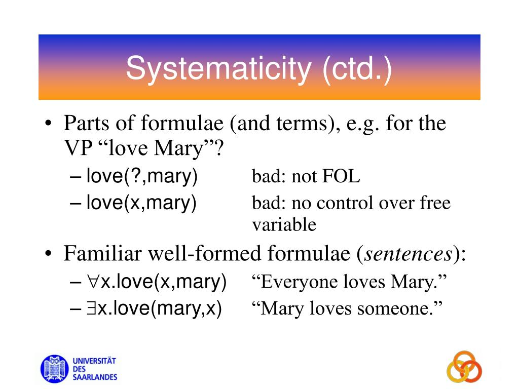 Systematicity (ctd.)