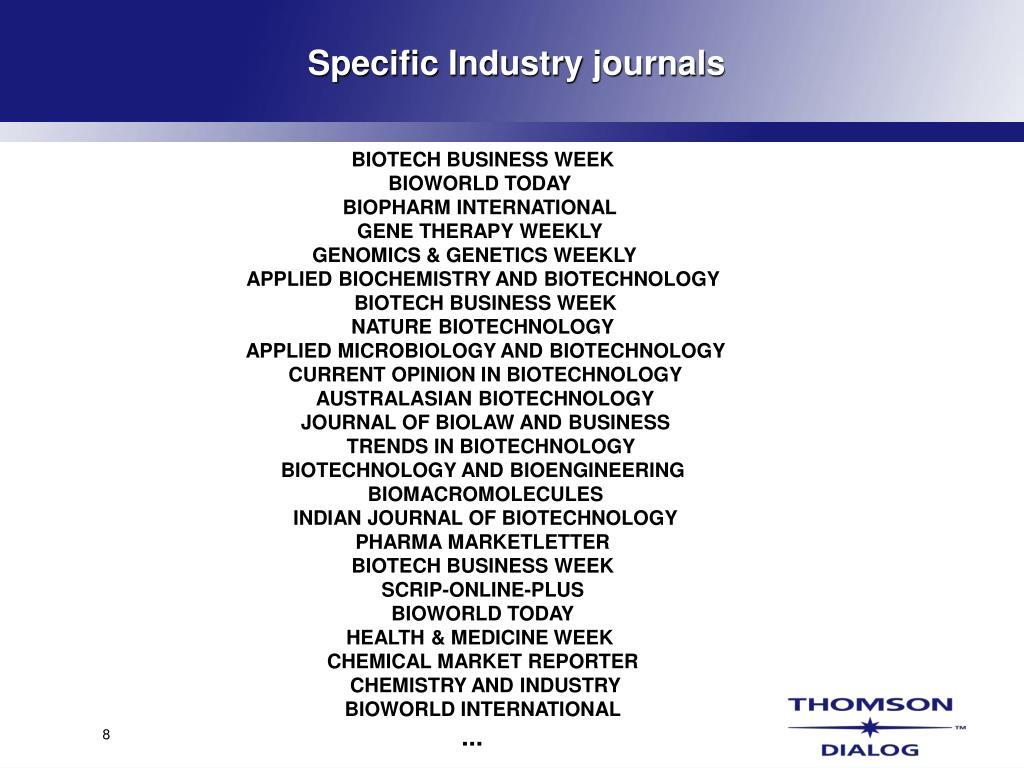 Specific Industry journals