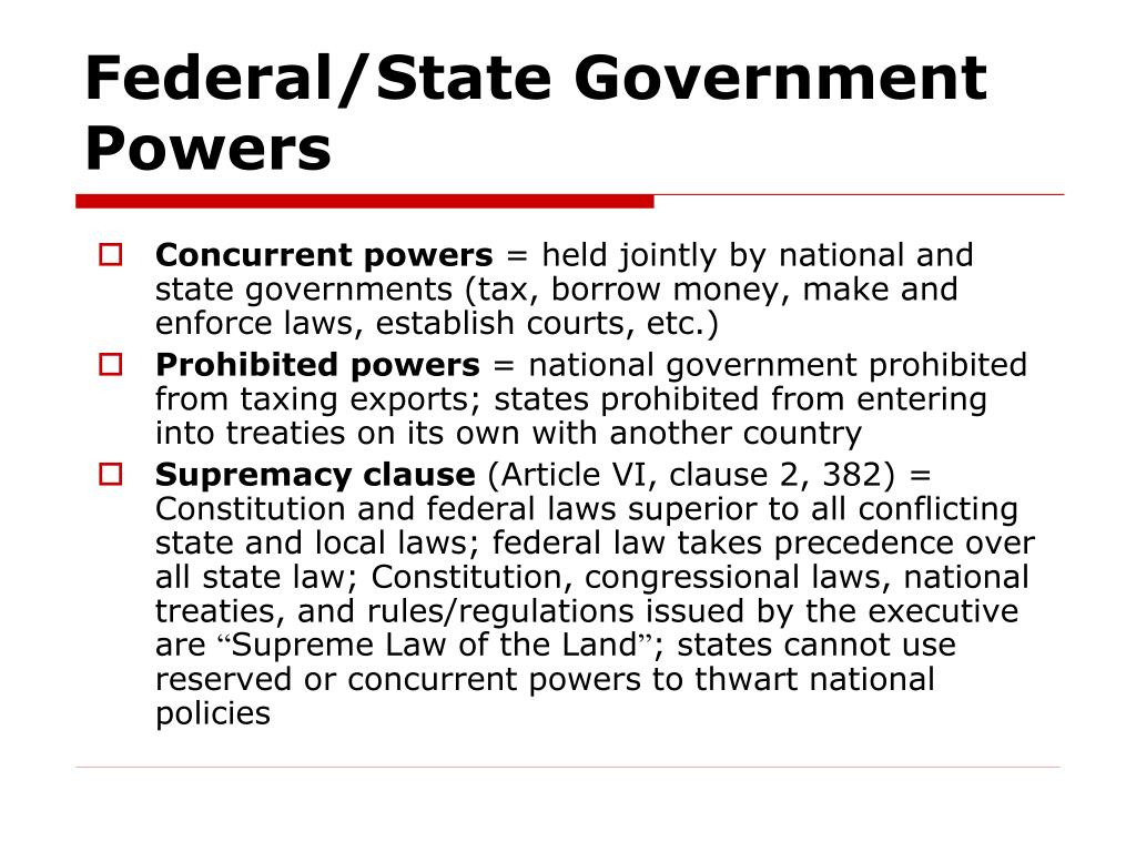Federal/State Government Powers