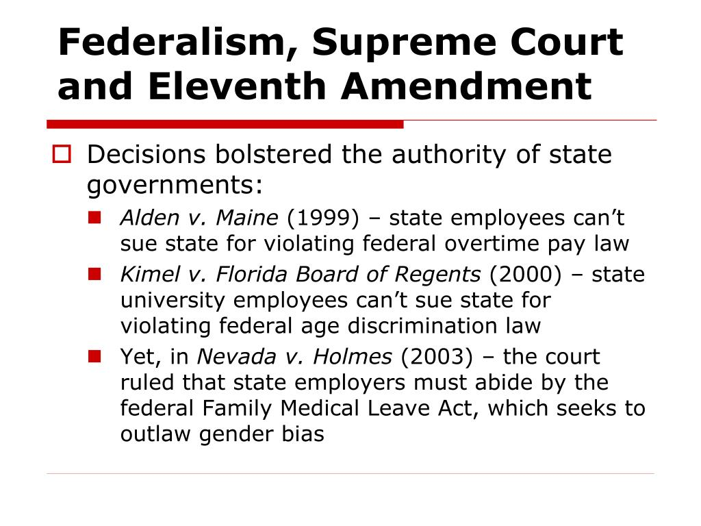 Federalism, Supreme Court and Eleventh Amendment