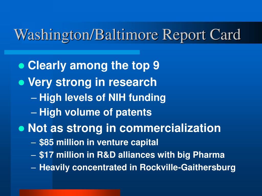 Washington/Baltimore Report Card
