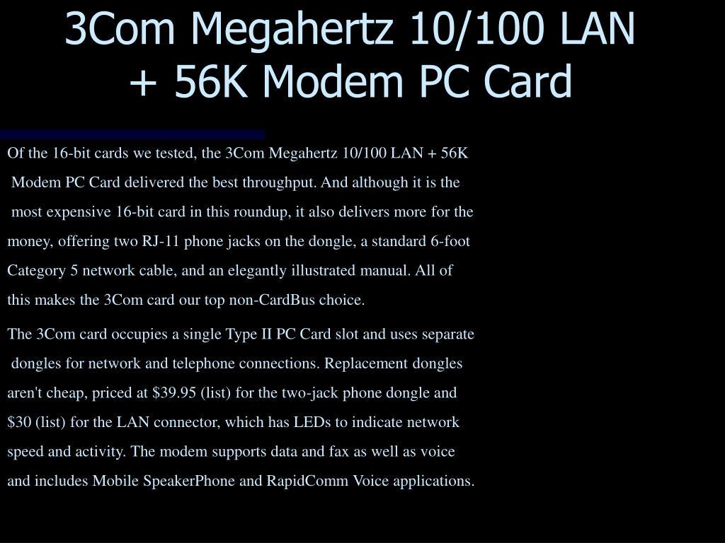 3Com Megahertz 10/100 LAN + 56K Modem PC Card
