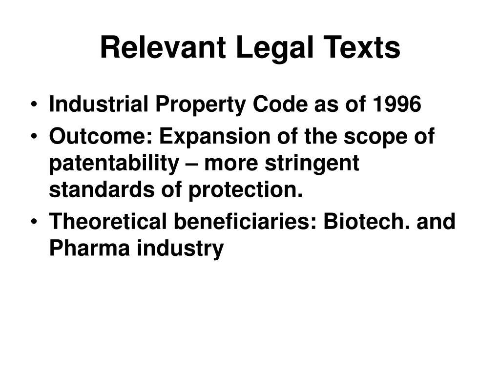 Relevant Legal Texts