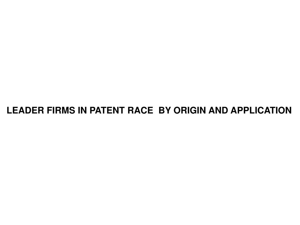 LEADER FIRMS IN PATENT RACE  BY ORIGIN AND APPLICATION