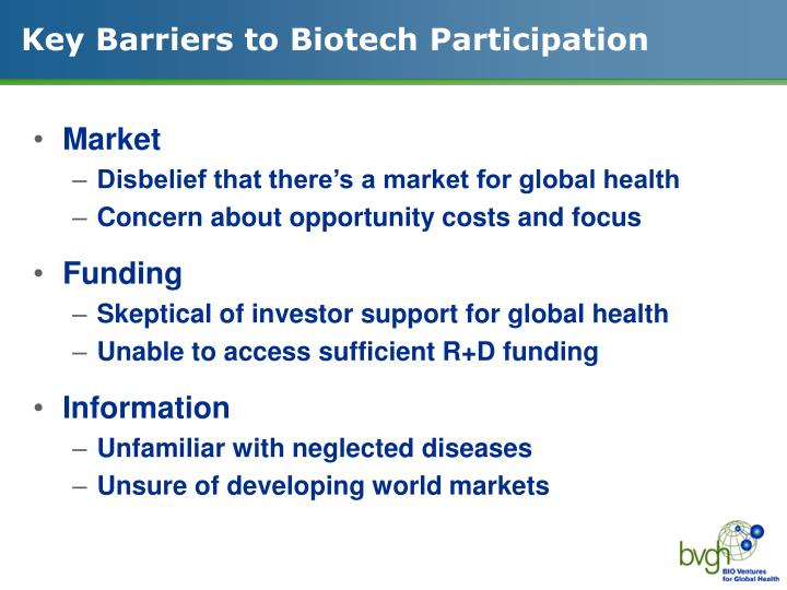 Key barriers to biotech participation