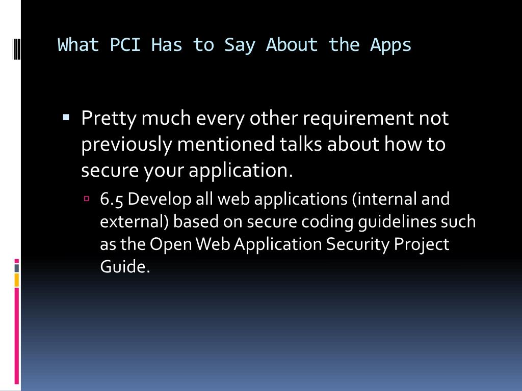 What PCI Has to Say About the Apps