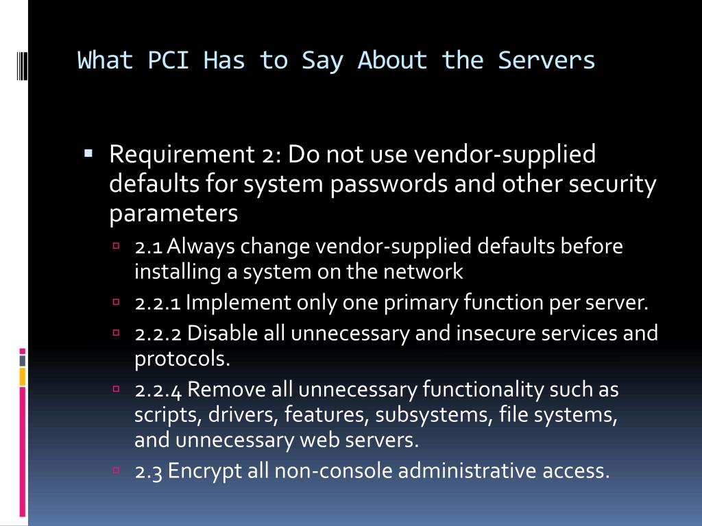 What PCI Has to Say About the Servers