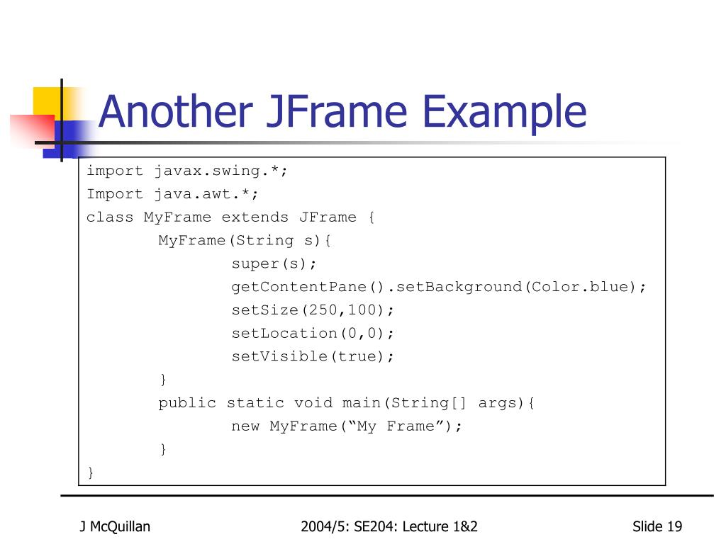 Another JFrame Example
