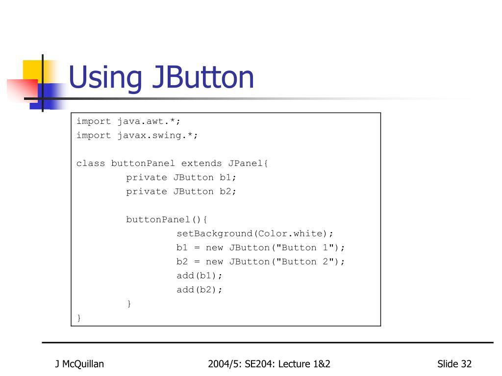 Using JButton