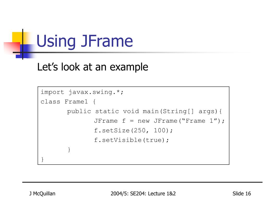 Using JFrame