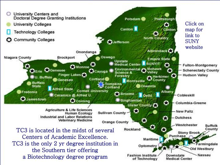 Click on map for link to SUNY website