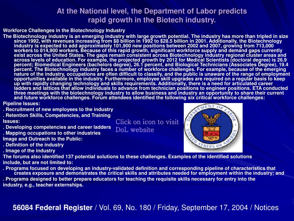 At the National level, the Department of Labor predicts