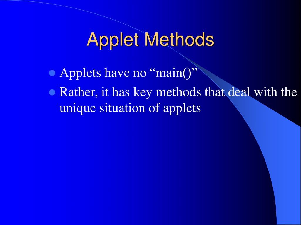 Applet Methods