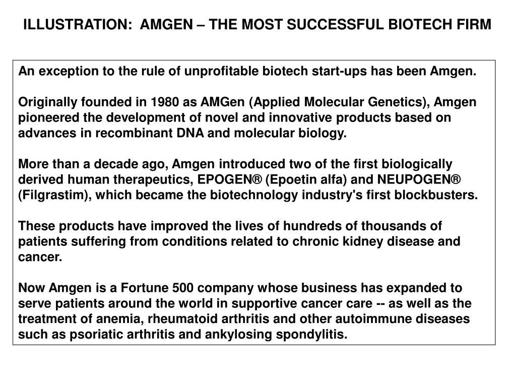 ILLUSTRATION:  AMGEN – THE MOST SUCCESSFUL BIOTECH FIRM
