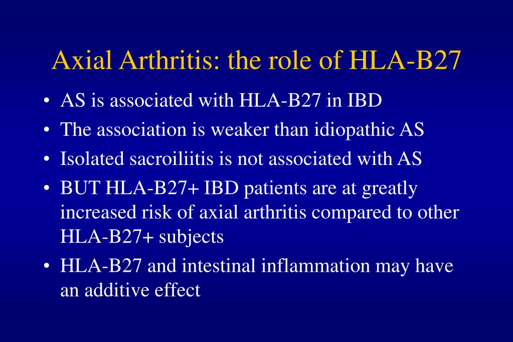 Axial Arthritis: the role of HLA-B27
