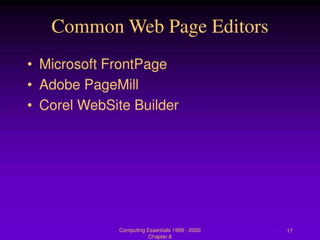 Common Web Page Editors