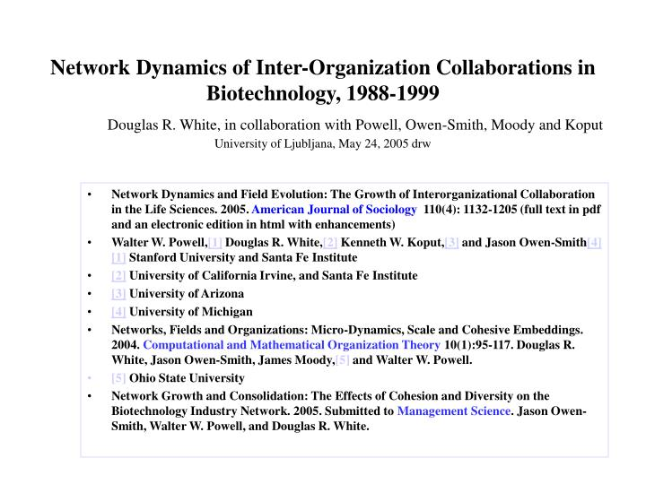 Network Dynamics of Inter-Organization Collaborations in Biotechnology, 1988-1999