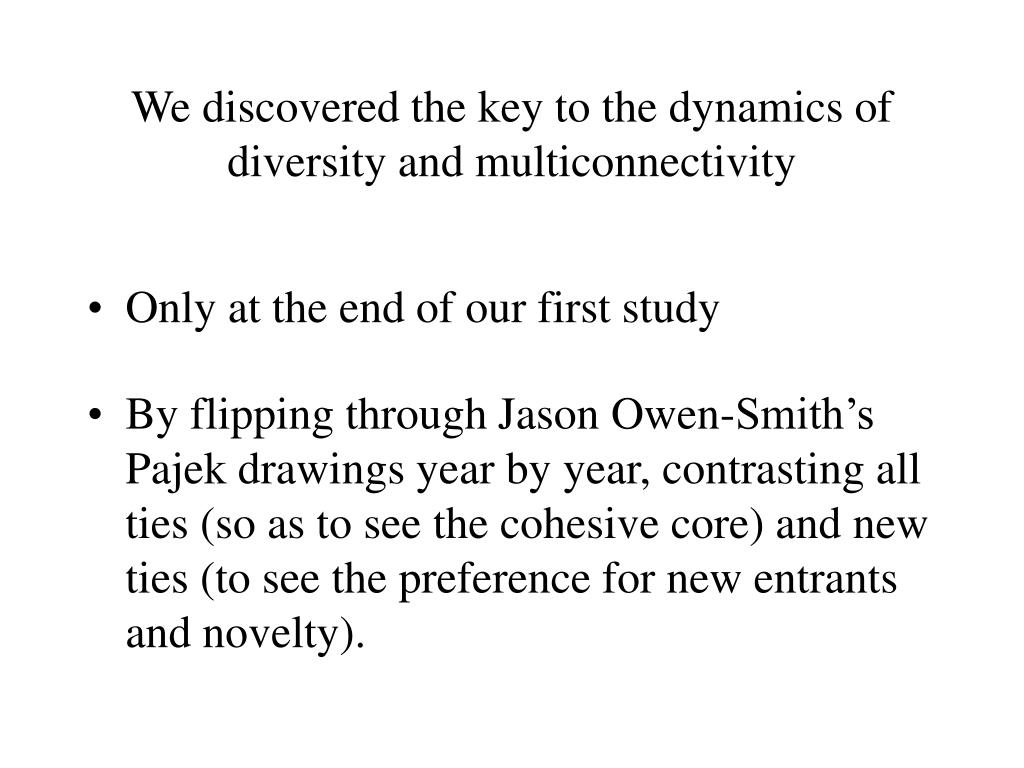 We discovered the key to the dynamics of diversity and multiconnectivity