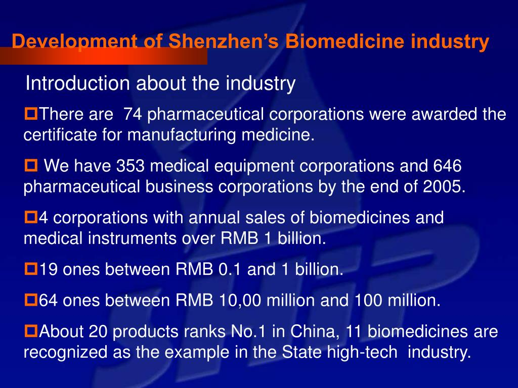 Development of Shenzhen's Biomedicine industry
