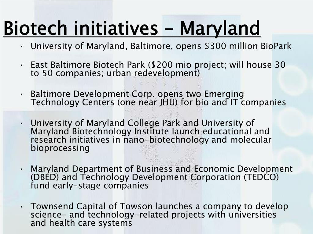 Biotech initiatives – Maryland