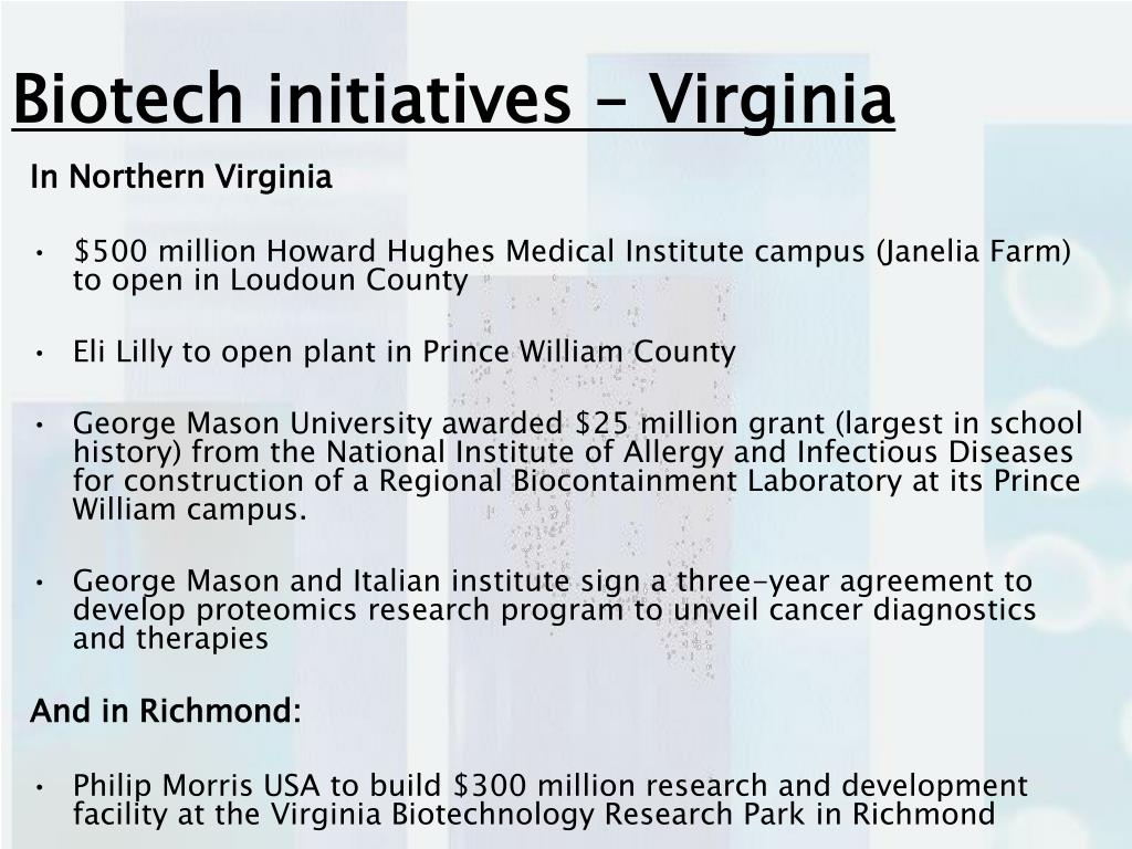 Biotech initiatives – Virginia