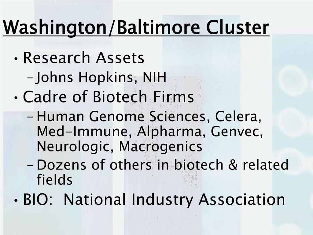 Washington/Baltimore Cluster