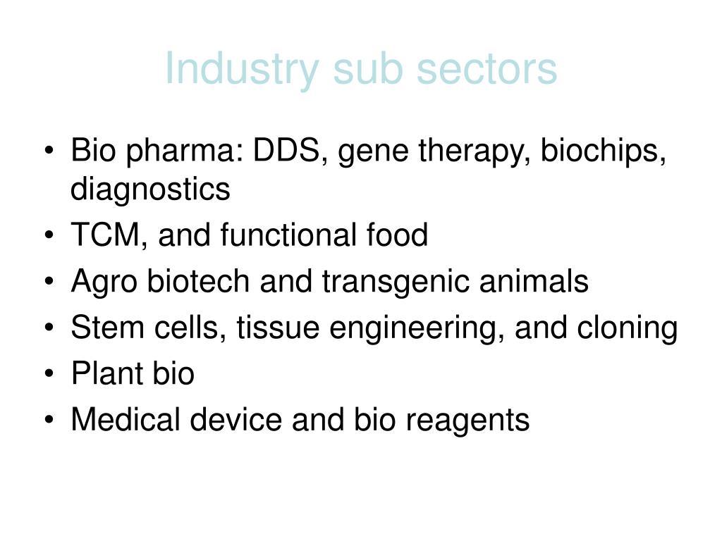 Industry sub sectors
