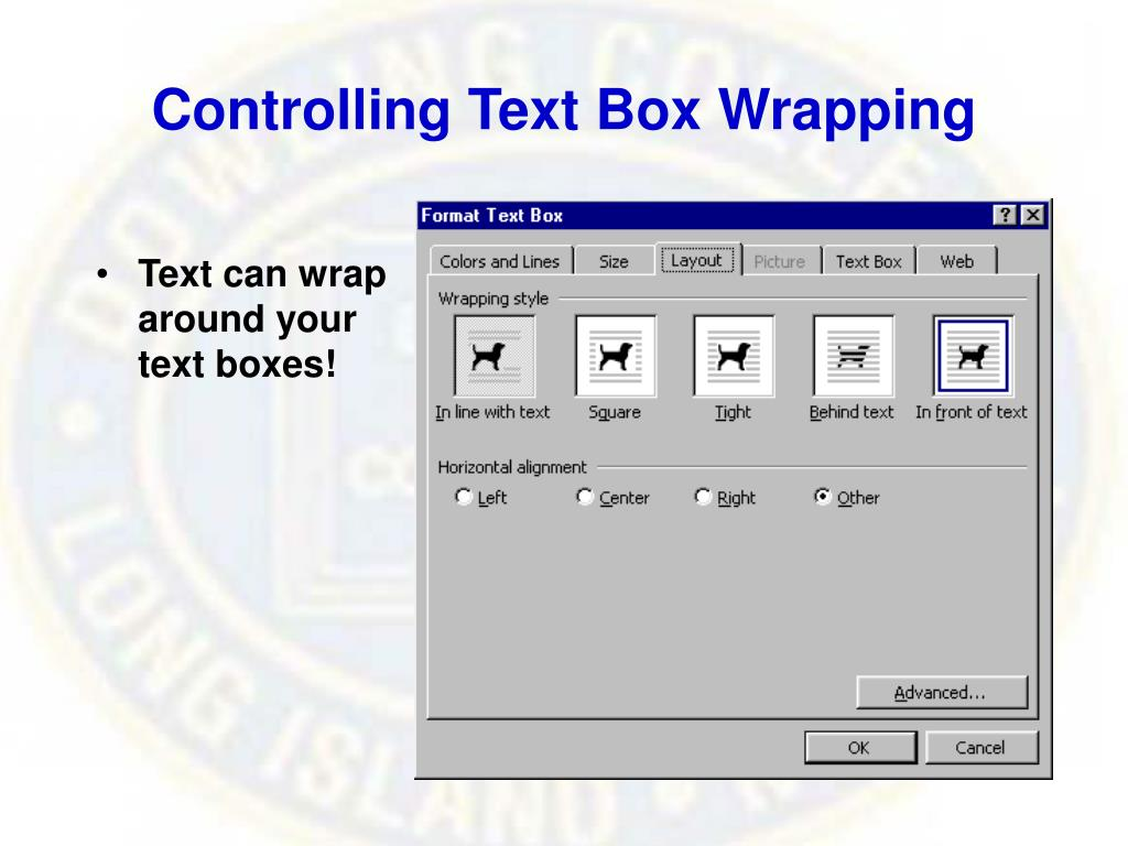 Controlling Text Box Wrapping