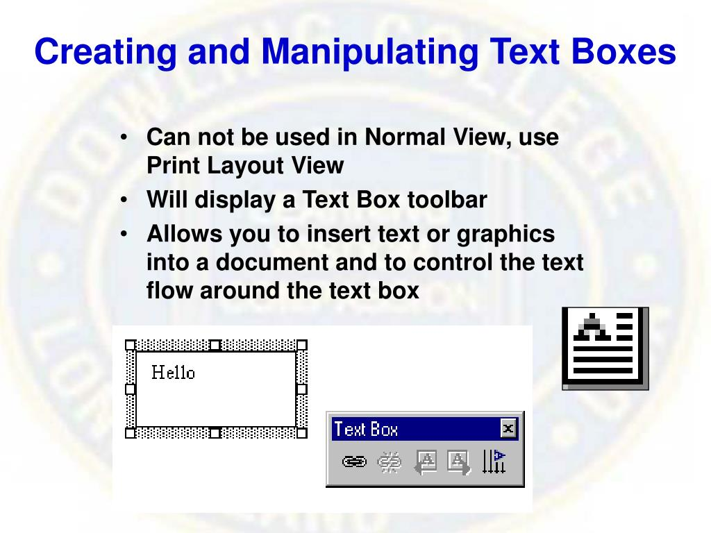 Creating and Manipulating Text Boxes