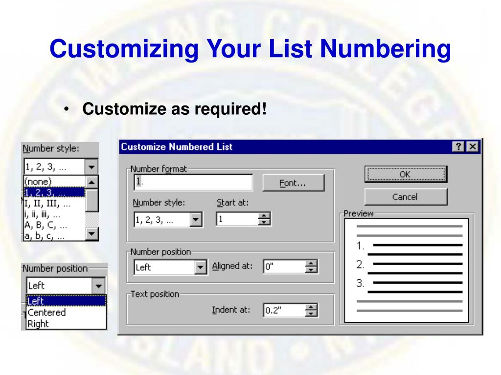 Customizing Your List Numbering