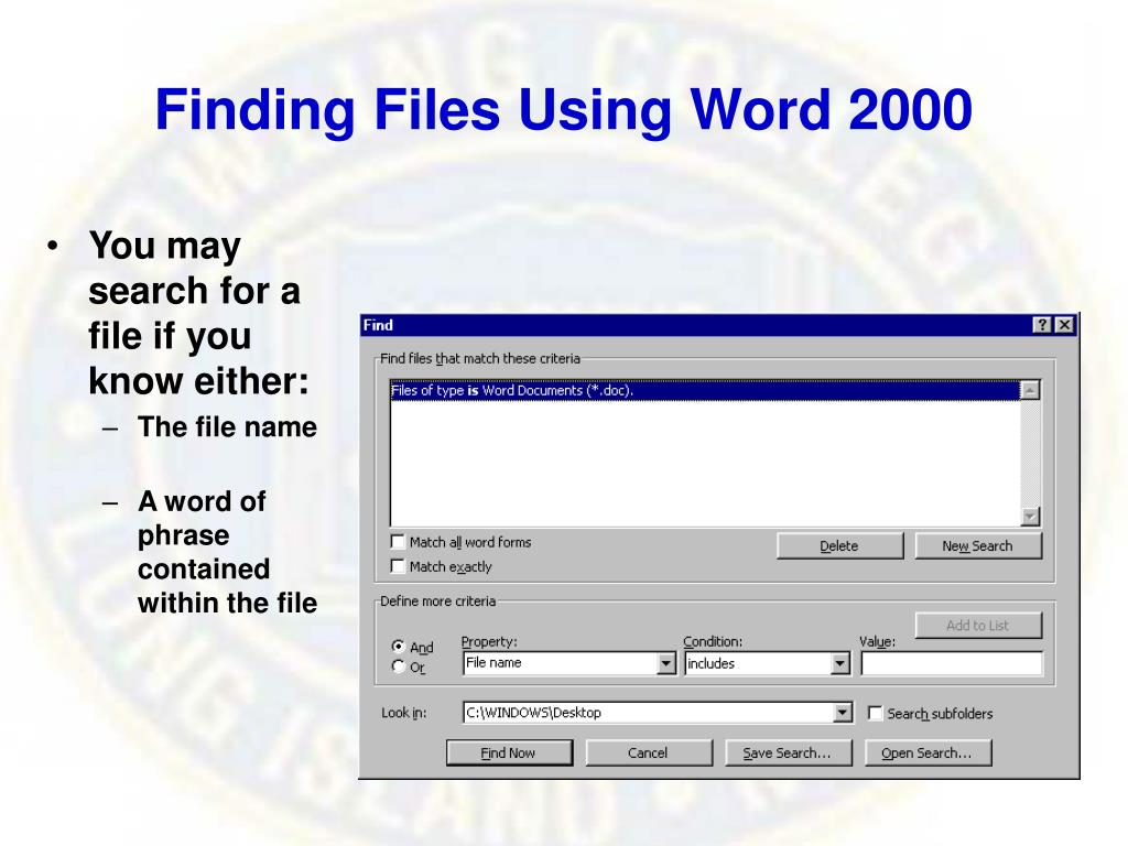 Finding Files Using Word 2000